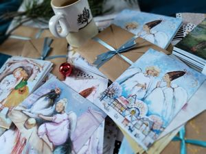 Зимние открытки с ангелами  в продаже!. Ярмарка Мастеров - ручная работа, handmade.