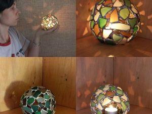 Делаем витражный подсвечник «Елочный шарик» из морских стеклышек. Ярмарка Мастеров - ручная работа, handmade.