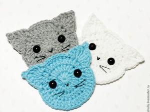 Crocheting a Simple and Very Nice Cat Applique. Livemaster - handmade