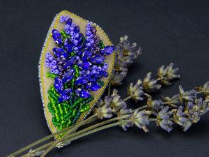 Вышиваем брошь Букет лаванды бисером и кристаллами. Ярмарка Мастеров - ручная работа, handmade.