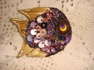 Вышиваем бисером и бусинами брошь «Аметистовая рыба». Ярмарка Мастеров - ручная работа, handmade.