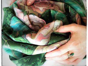 Платок  «В саду чайных роз»  — рассмотрим подробнее. Ярмарка Мастеров - ручная работа, handmade.