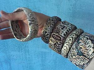 Браслеты из пластиковой бутылки и массы папье-маше своими руками. Ярмарка Мастеров - ручная работа, handmade.