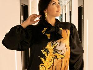 Ликвидация!Роскошная блузка ,шелк Кавалли-50%. Ярмарка Мастеров - ручная работа, handmade.