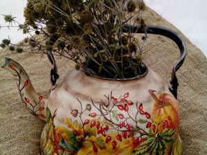 Как старый чайник стал вазой для сухоцветов. Ярмарка Мастеров - ручная работа, handmade.