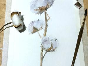 Рисуем веточку хлопка акварелью. Ярмарка Мастеров - ручная работа, handmade.