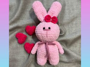 Розовый вязаный зайчик. Ярмарка Мастеров - ручная работа, handmade.