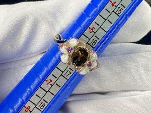 Кольцо ирис с природным раух-топазом В НАЛИЧИИ. Ярмарка Мастеров - ручная работа, handmade.