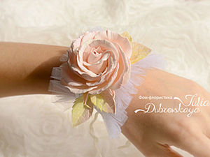 Two-in-One DIY: Wedding Flower Garter or Bracelet out of Tulle and Foam. Livemaster - handmade