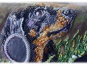 Вышиваем бисером по коже собачку таксу. Ярмарка Мастеров - ручная работа, handmade.