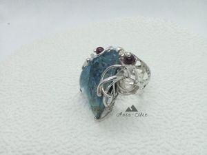 Кольцо с флюоритом  «Байкальский лед». Ярмарка Мастеров - ручная работа, handmade.