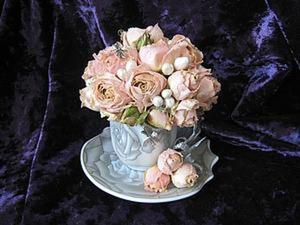 Букет из роз в кофейной чашке, или Как сделать милый сувенир. Ярмарка Мастеров - ручная работа, handmade.