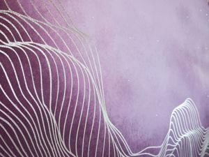 Картина  «Розовый рассвет»  золотые линии. Ярмарка Мастеров - ручная работа, handmade.