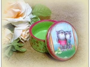 Декупаж маленькой шкатулочки с котятами. Ярмарка Мастеров - ручная работа, handmade.