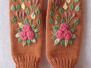 """Мастер-класс: варежки с вышивкой """"Розы"""".  Часть 1. Ярмарка Мастеров - ручная работа, handmade."""