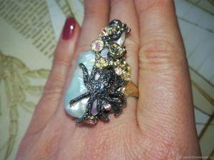 Акция! Кольцо  «Морская стихия»  с крупной барочной жемчужиной. Ярмарка Мастеров - ручная работа, handmade.