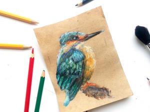 Рисуем зимородка масляной пастелью. Ярмарка Мастеров - ручная работа, handmade.