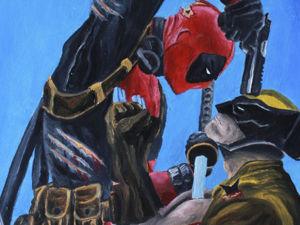 Рисуем картину масляными красками: Deadpool vs. Wolverine. Ярмарка Мастеров - ручная работа, handmade.