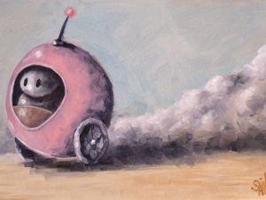 День 303. Картина маслом  «Самокат» . 4-я работа из серии 50 дней масла. Ярмарка Мастеров - ручная работа, handmade.