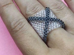 Плетем широкое кольцо из бисера. Ярмарка Мастеров - ручная работа, handmade.