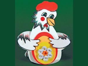 Мастерим с детьми пасхальный сувенир-курочку из картона. Ярмарка Мастеров - ручная работа, handmade.