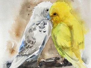 Видео мастер-класс: как нарисовать миниатюру с влюбленными попугайчиками. Ярмарка Мастеров - ручная работа, handmade.