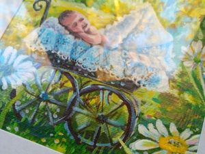 Картина с ребенком, спящим в коляске. Ярмарка Мастеров - ручная работа, handmade.