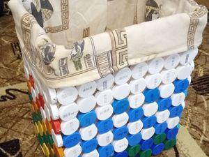 Делаем корзину для белья из крышек. Ярмарка Мастеров - ручная работа, handmade.