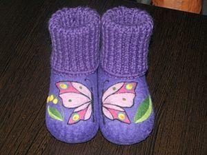"Валеные тапочки ""Бабочки"". Ярмарка Мастеров - ручная работа, handmade."