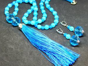 Сотуар с кистью и серьги  «Голубое небо». Ярмарка Мастеров - ручная работа, handmade.