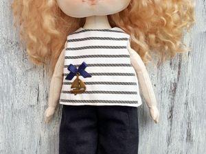 Шьем комплект в морском стиле для куклы. Часть 2. Ярмарка Мастеров - ручная работа, handmade.