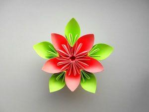 Складываем простые цветы из бумаги. Ярмарка Мастеров - ручная работа, handmade.