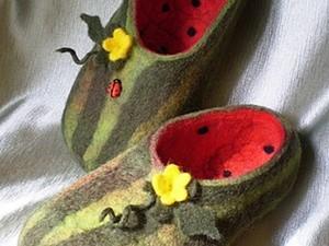 Валяные тапки «Арбузики». Ярмарка Мастеров - ручная работа, handmade.