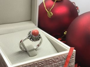 Кольцо с кораллом из серебра. Ярмарка Мастеров - ручная работа, handmade.