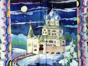 Платок «Рождественский» в технике горячего батика. Ярмарка Мастеров - ручная работа, handmade.