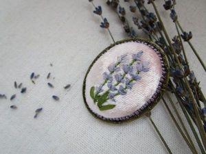 Вышиваем брошь с лавандой. Ярмарка Мастеров - ручная работа, handmade.