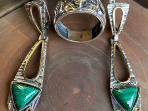 Новогодний аукцион на Серебряные серьги кольцо 925 пробы камень малахит. Ярмарка Мастеров - ручная работа, handmade.