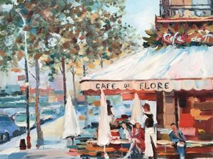 Пишем парижское кафе масляными красками в мозаичном стиле. Ярмарка Мастеров - ручная работа, handmade.