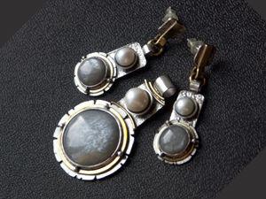 Видео комплекта с лунными камнями и жемчугос. Ярмарка Мастеров - ручная работа, handmade.