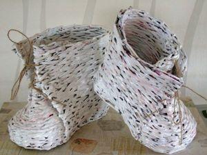 Мастер-класс: создаем ботинки из газетных трубочек. Ярмарка Мастеров - ручная работа, handmade.