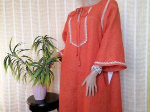 Льняное платье  «Рыжик». Ярмарка Мастеров - ручная работа, handmade.