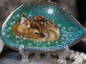 Интерьерное панно «Мечты о весне» Оленёнок (видео). Ярмарка Мастеров - ручная работа, handmade.