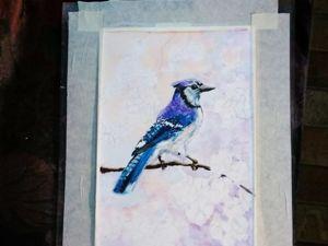 Рисую голубую сойку. Ярмарка Мастеров - ручная работа, handmade.