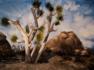 Пейзаж с деревом Джошуа акварелью. Ярмарка Мастеров - ручная работа, handmade.