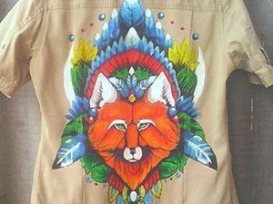 """Расписываем рубашку """"Тотемная лиса"""". Ярмарка Мастеров - ручная работа, handmade."""