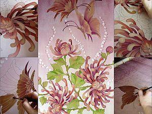 Батик, мои открытия при росписи фона. Советы мастера. Хризантемы и бабочки.. Ярмарка Мастеров - ручная работа, handmade.