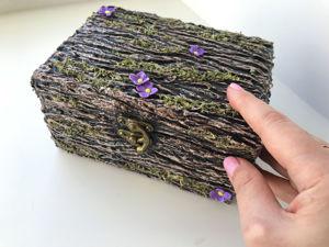 Как сделать красивую шкатулку с имитацией коры дерева своими руками / Мастерим поделки из папье-маше. Ярмарка Мастеров - ручная работа, handmade.