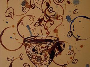 Рисуем кофейную тему, не умея рисовать:). Ярмарка Мастеров - ручная работа, handmade.