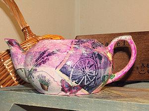 Делаем из керамического чайника цветочный горшок в технике Декупаж. Ярмарка Мастеров - ручная работа, handmade.
