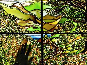 Витражная картина с подсветкой Окно в лето. Ярмарка Мастеров - ручная работа, handmade.